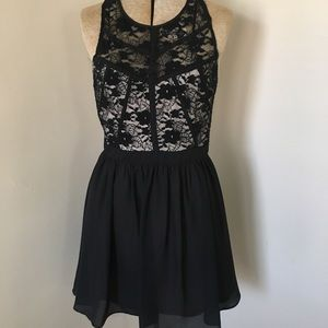 Black Lace Racer Back Full Corset Mini Dress S